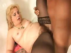 Chubby Hairy Little Titted Granny in Stockings and a Cock
