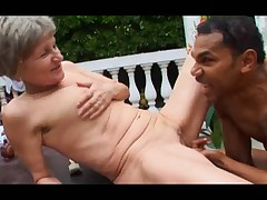 Grey Haired Granny Outdoor Suck and Fuck