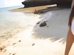 Very big titted tiny asian fucked on beach