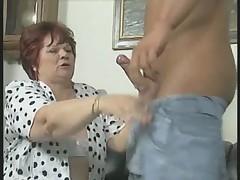 Chubby Granny in White Stockings Fucks