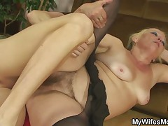 Blonde mom in law is fucked after nasty photosession