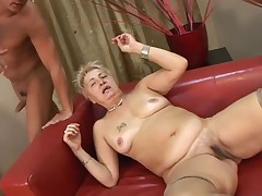 Hairy Little Titted Granny in Stockings Fucked