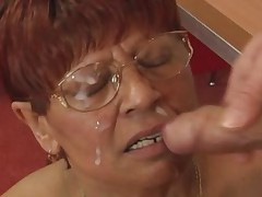 Redhead Granny in Stockings Cum on Glasses