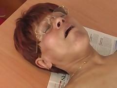 Redhead Granny in Stockings Cum on Glasses