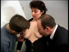 Horny french mature double penetrated by two guys