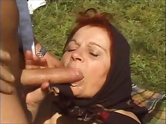 Bbw granny in a headscarf - outdoors