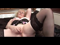 Glorious Granny in Glasses and Stockings Teases and Fingers