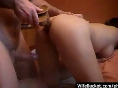 Amateur wife fucks a dildo and her hubby