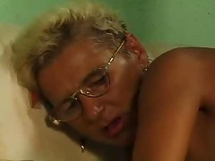 Tow-headed Granny encircling Glasses and Stockings Fucks