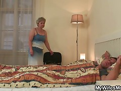 Cock hungry granny fucks her son in law