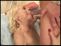 Blonde Skanky Granny involving Stockings Fucks