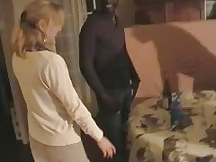 Blonde French wife gangbanged by three knavish men. Hubby films