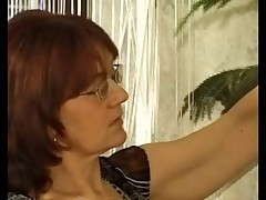 Granny Cleaner in Stockings Gets Cum in the sky her Glasses