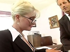 Busty secretary fucked in stockings increased off out of one's mind a garter