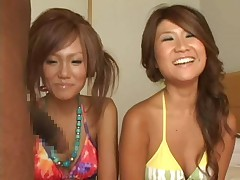 Two Japanese girls watching two dicks 2 cfnm