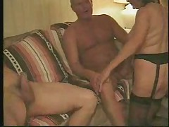 Loud Granny and Two Cocks