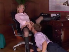 Office Domme in Stockings Worshipped