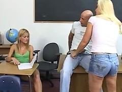 2 hot blondes blowjob at school