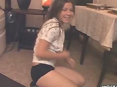 Teen striptease on the floor