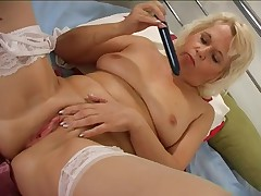 Granny masturbating in stocking part2
