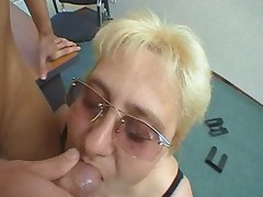 Busty Granny in Glasses Sucks and Fucks