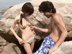 Skinny Japanese Girl Fucked at the Beach (Uncensored)