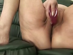 Granny Panty Stuffing and Dildo Play