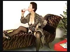 Granny in Black Stockings and Lingerie Fucks