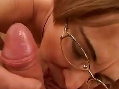 Granny in Glasses Toys coupled with Sucks Cock