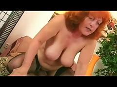 Redhead Granny in Stockings Sucks and Fucks
