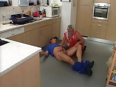 Sexy mature cleaning woman