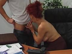Hot Euro Mature Redhead Bangs In Office