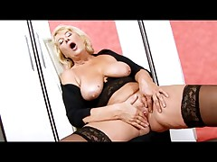 Blonde Granny in Black Stockings Fingering
