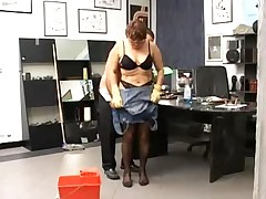 Granny Cleans Up in the Office