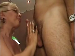 Fair-haired Granny in White Fishnet Stockings Fucks