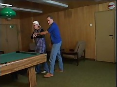 Granny fuck on pooltable