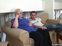 Lustful young guy bangs old blonde woman