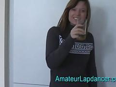 A nervous shy blonde beautiful lapdancer