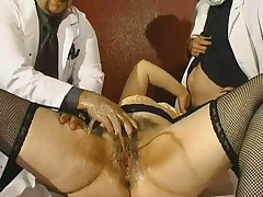 Hairy Screaming MILF- Fucked and Fisted by 2 Doctors