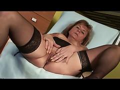 Pierced Granny in Stockings Fingers