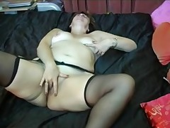 Granny here Glasses added to Stockings with a Dildo