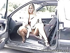 Blue-eyed MILF gets naked and flashes outside