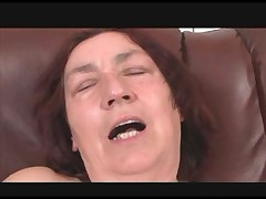 Hairy Granny in Stockings Fucks Sex Toy and Cock