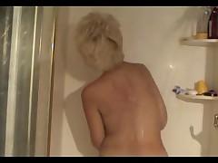 Mature blond shower