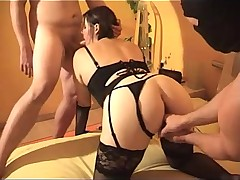 BBW in black lingerie fucked and fisted