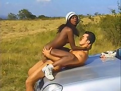 Ebony sugar babe Bagheera fucks and sucks outdoors
