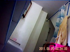25 yo brunette with nice ass caught by spy cam in bathroom