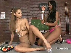 Horny black lesbian girlfriends play with big vibrator