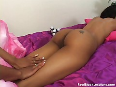 Black lesbian porn video with a massage