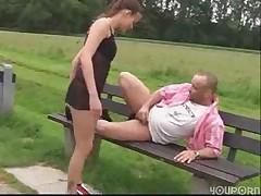 Outdoor fuck, german couple have fun